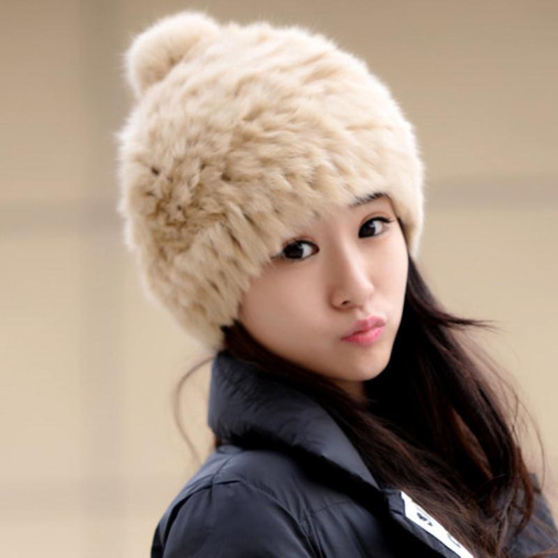 HT2162 New Rabbit Fur Hats Ladies Thick Warm Winter Hats Women Skullies  Beanies Female Casual Knitted Earflap Beret Beanies Cloche Hat Crochet Hats  From ... c105660e3ff5