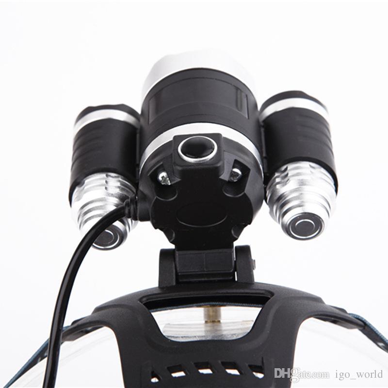 Açık 3 T6 LED Far taşınabilir kamp çalışma avcılık El Feneri Torch Fener farlar şarj şarj seti ile