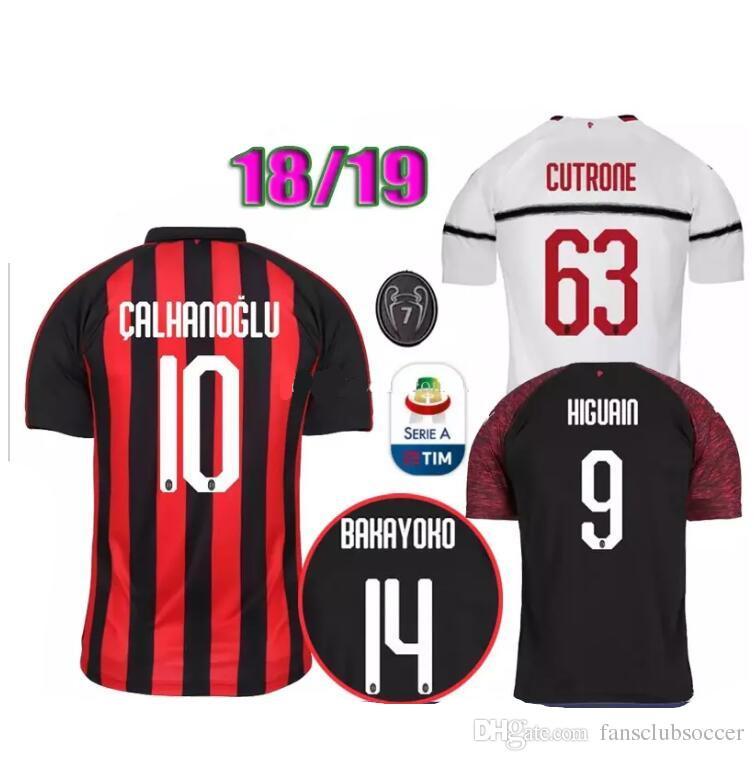 2019 18 19 Season Milan Jersey Men 7 Champions Soccer 9 HIGUAIN 10  CALHANOGLU BONAVENTURA CUTRONE ANDRE SILVA Football Shirt Kits Uniform From  ... f7bd5483c