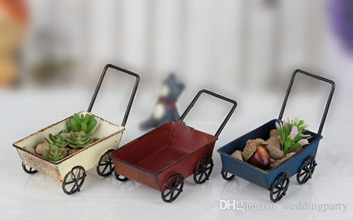 Vintage Chariots En Fer Forgé Mini Chariots À La Main Miniature Fée Jardin Artisanat Décoration de La Maison Jouets De Stockage