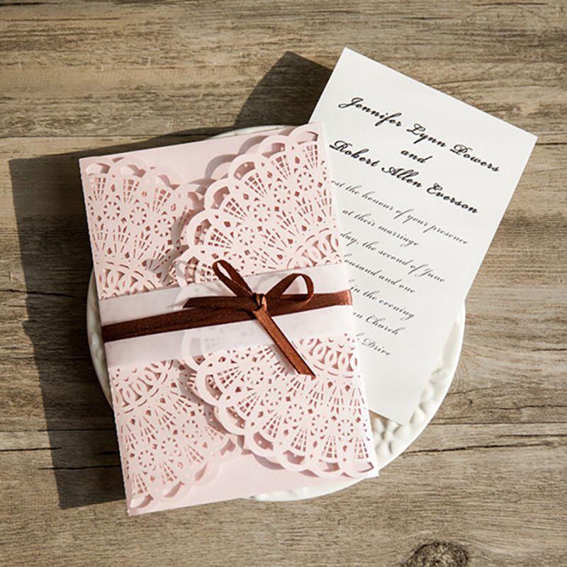 Rustic Wedding Invitations Pink Beige Laser Cut Blank Invites Card