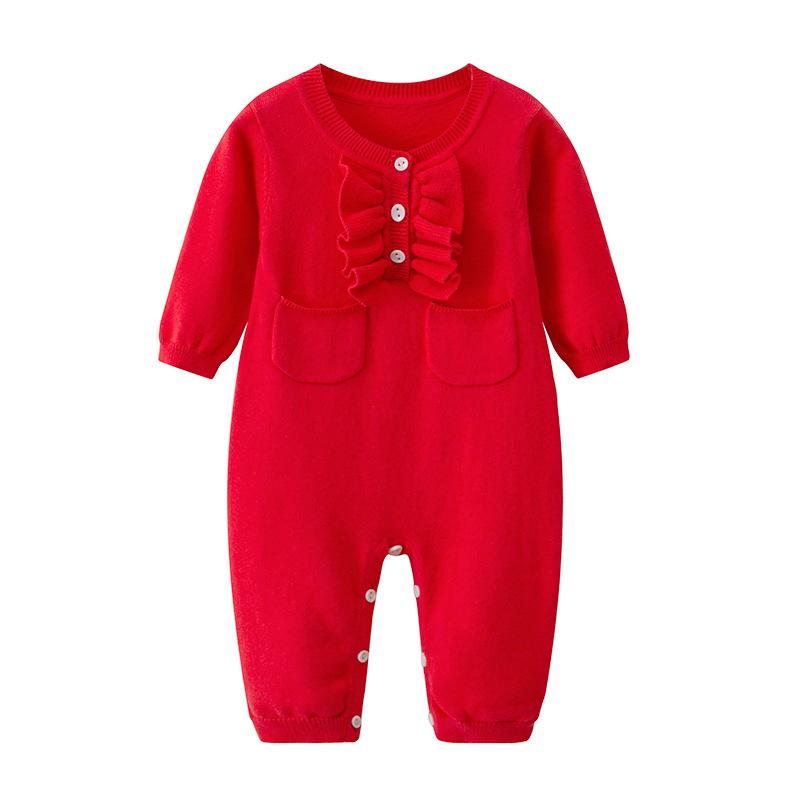 5b97af760 2019 Ins Baby Clothing Romper Spring Fall Knitted 100% Cotton Red ...