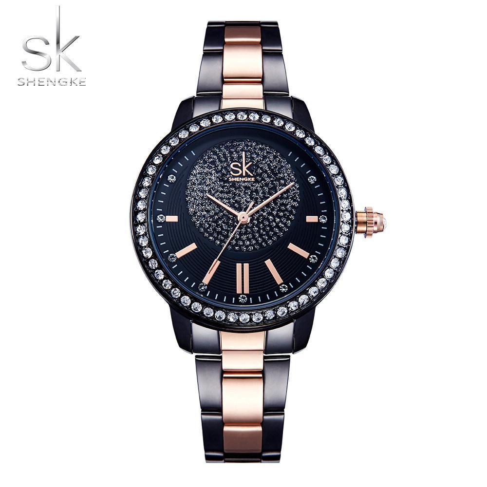 1b80d2aa3 SK Fashion Brand ShengKe Ladies Quartz Watch Women Casual Dress Women's  Rhinestone Bracelet Watch Rose Gold Crystal reloje mujerY1883104