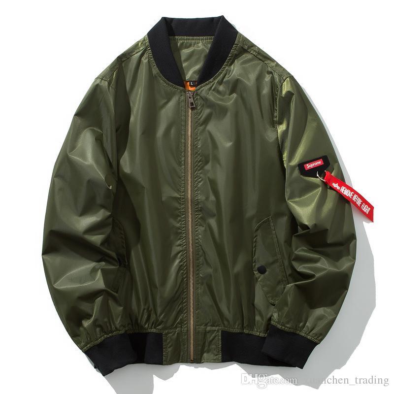 87e635591 Compre Hombres Chaqueta De Bombardero Hip Hop Para Hombre Ropa De Otoño Moda  Masculina Delgada Ejército Verde Motocicleta Aviador Piloto Aire Hombres ...
