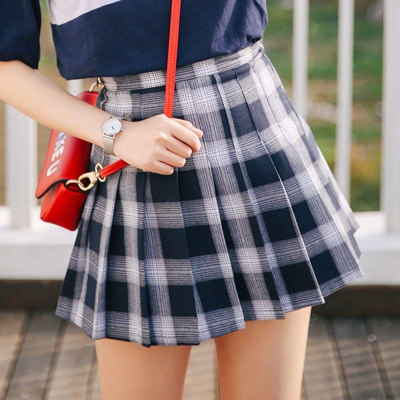 Acheter Été 2018 Ulzzang Harajuku Style Coréen Femmes Jupes Mode Printemps  Plaid Rétro Tendance Plissé Taille Haute Jupe Femmes De  26.81 Du Begonier  ... 08af40f5dd1