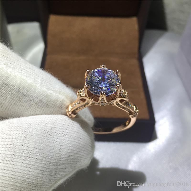 Fashion Jewelry Women Crown Set 3ct Cz birthstones Rose Gold 925 Sterling silver Engagement Wedding Band Ring for Women