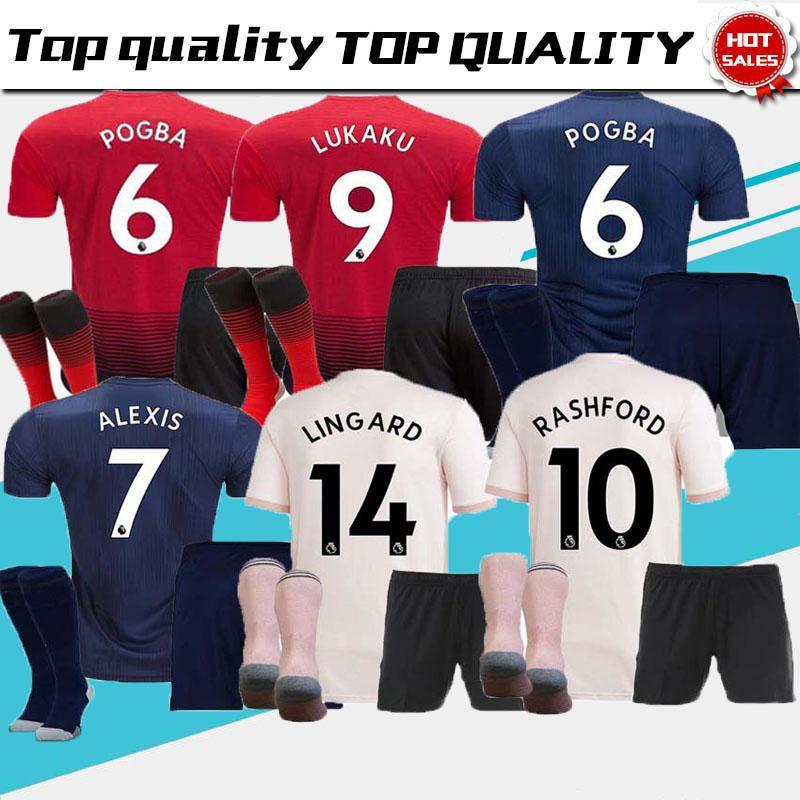 e7c85fa2b AAA+ Adult Kit 18 19 ALEXIS LUKAKU Soccer Jersey Full Kit THIRD Man 2018  2019 Home POGBA RASHFORD Utd Football Shirt BLUE MAILLOT DE FOOT Manchester  United ...