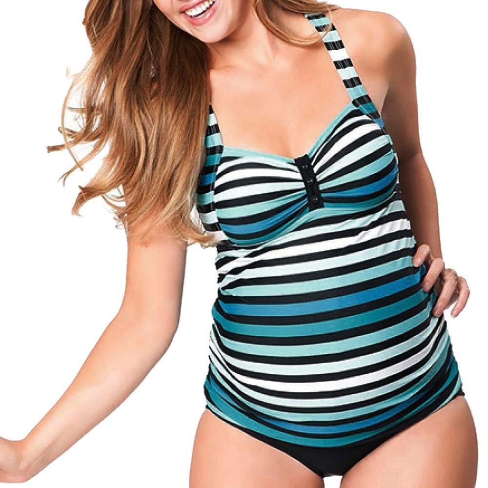 8990e2d9e Compre Maternidad Mujeres Embarazadas Traje De Baño Tankinis Set Mujeres A  Rayas Bikinis Traje De Baño Ropa De Playa De Verano Ropa Embarazada Traje  De Baño ...
