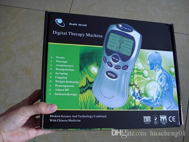 العلاج آلة حدة عشرات LCD الوخز بالابر مدلك رقمي الألم العلاج +4 منصات + 4 في اتجاه الأسلاك مع محول AC بواسطة DHL