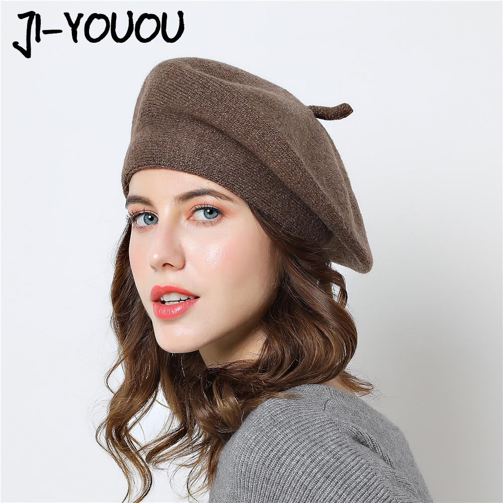 a6722c2e4c7 2019 Berets Winter Warm Hat Girls Mask Female Knitted Color Mixing Painter  Cotton 2018 Hats For Women Beanie Wool Cap From Maocai