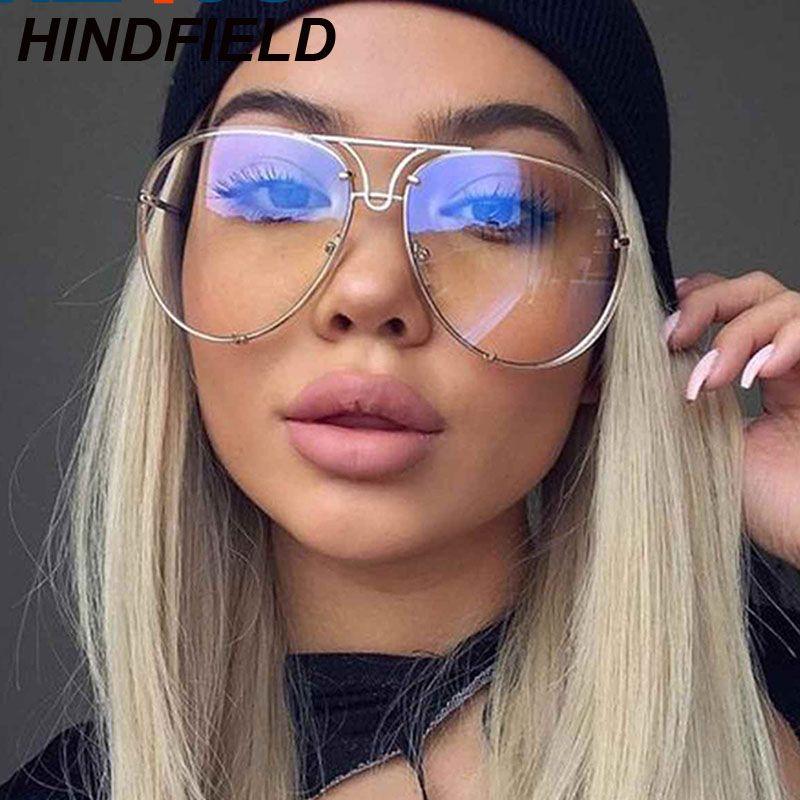 1c0cd923c10e 2019 2017 Clear Glasses Women Optics Eyeglasses Frames Big Oversize  Transparent Oculos Men Myopia Lunette Pilots Eyewear Fake Glasses From  Haydena