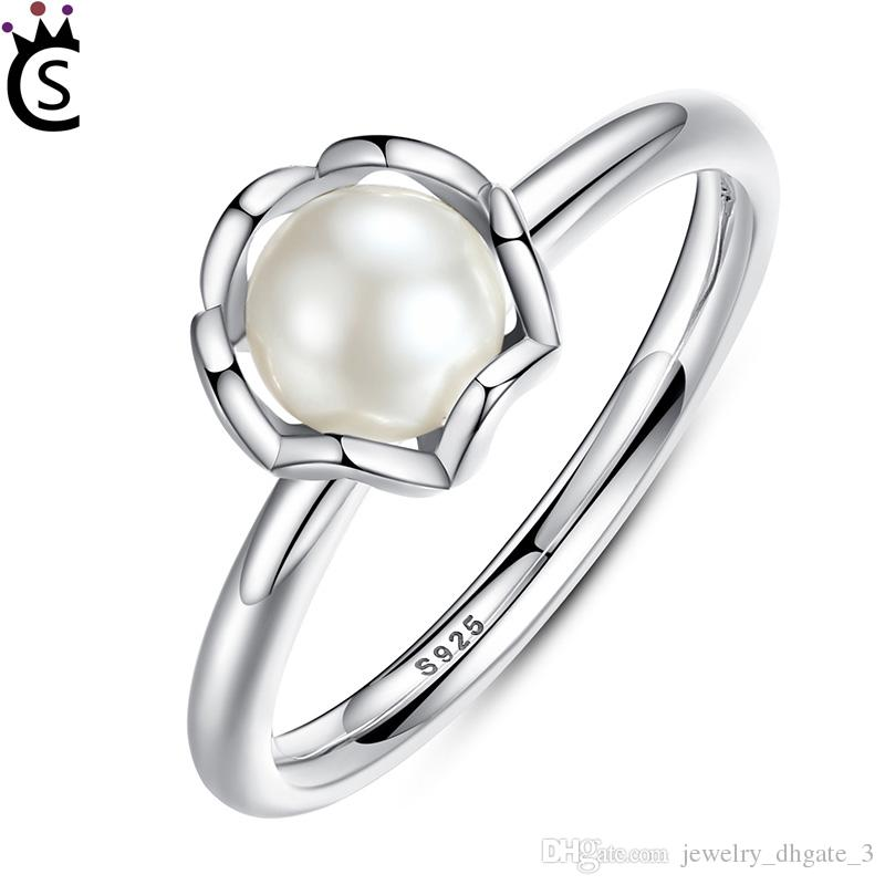 857732f44 ... coupon code for new 925 sterling silver ring everlasting flower grace  pearl with zircon rings for