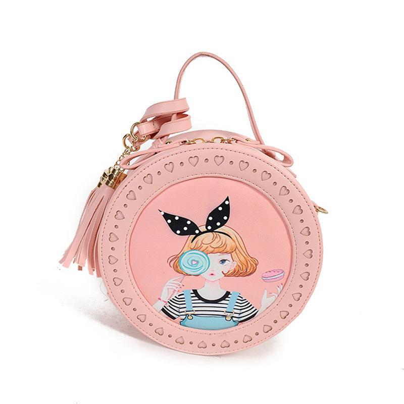 Vintage Mori Girl Round Shape Handbags Ladies Candy Tassel Messenger Bag  Cat Ear Girls Retro Circle Crossbody Party Purses Bags Hobo Handbags  Italian ...