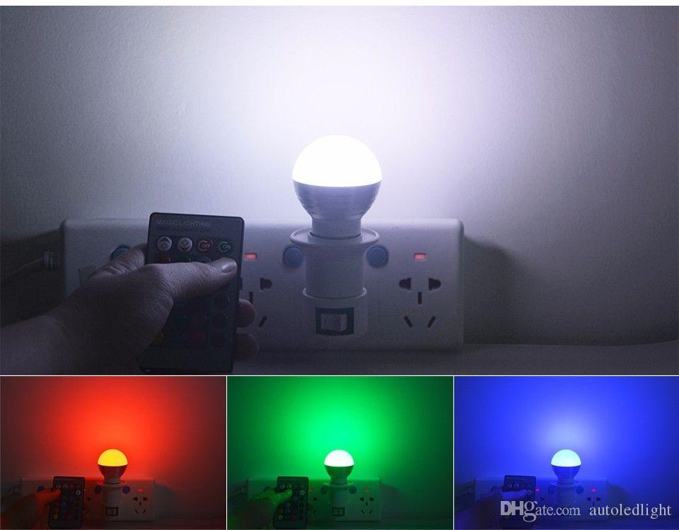 rgbw rgb + white e27 e26 e14 bombillas led luz 5w rgb led luces para iluminación navideña + control remoto ir