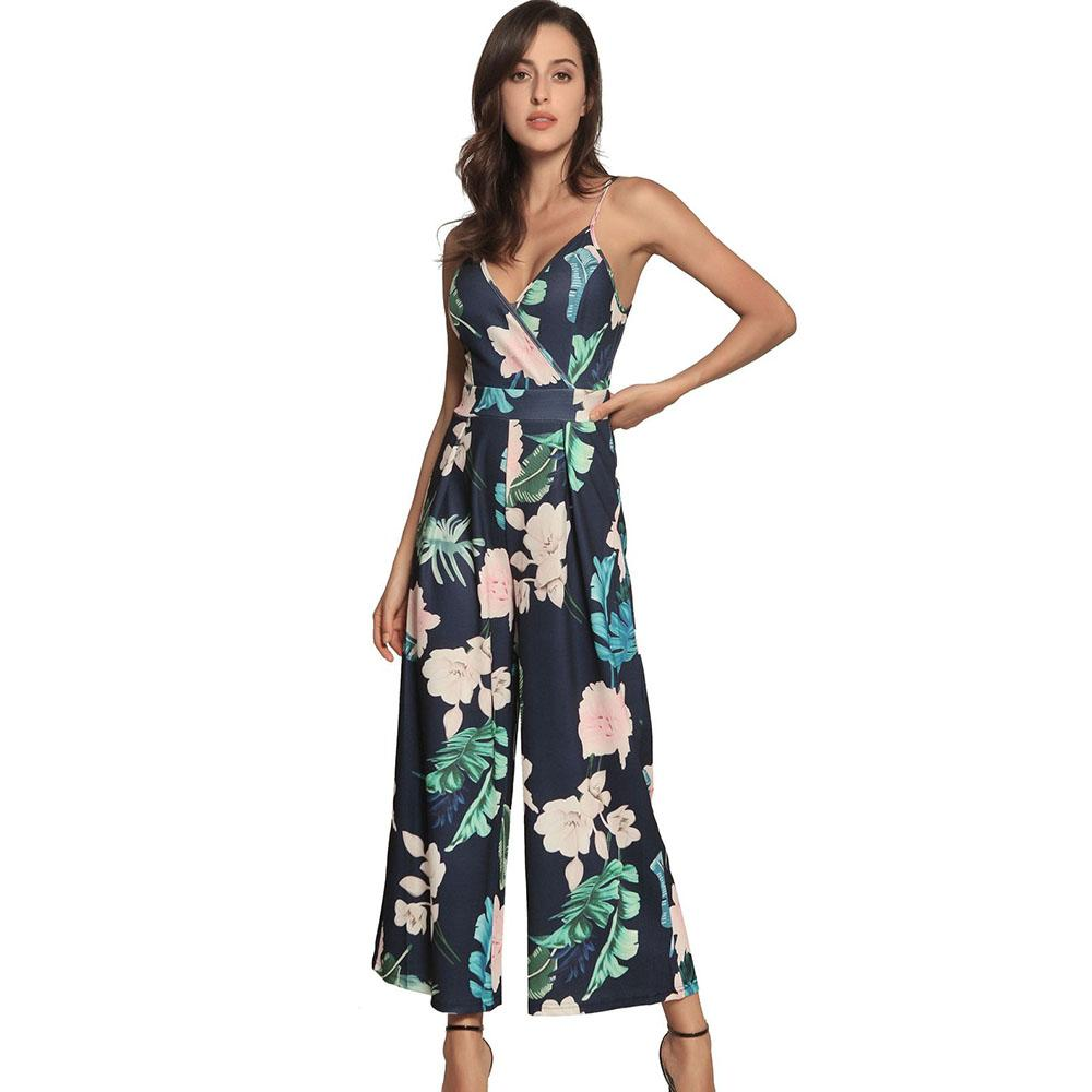 7731440457fb 2019 Floral Print Blue Spaghetti Strap Jumpsuit Sleeveless Backless Tie Up  Bow Knot Overalls Female Plus Size Wide Leg Pants Trousers From Viviant