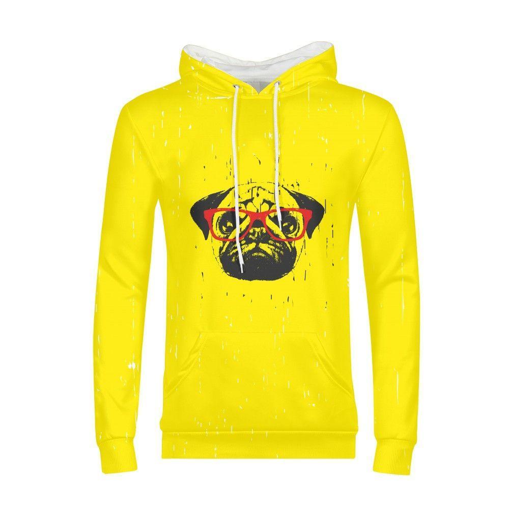 low priced ee855 f98b3 Felpa con cappuccio Swag Bulldog giallo Uomo Harajuku Felpa con cappuccio  3d Aniamls Design S-xxl Felpa con cappuccio Hip Hop con cappuccio Uomo