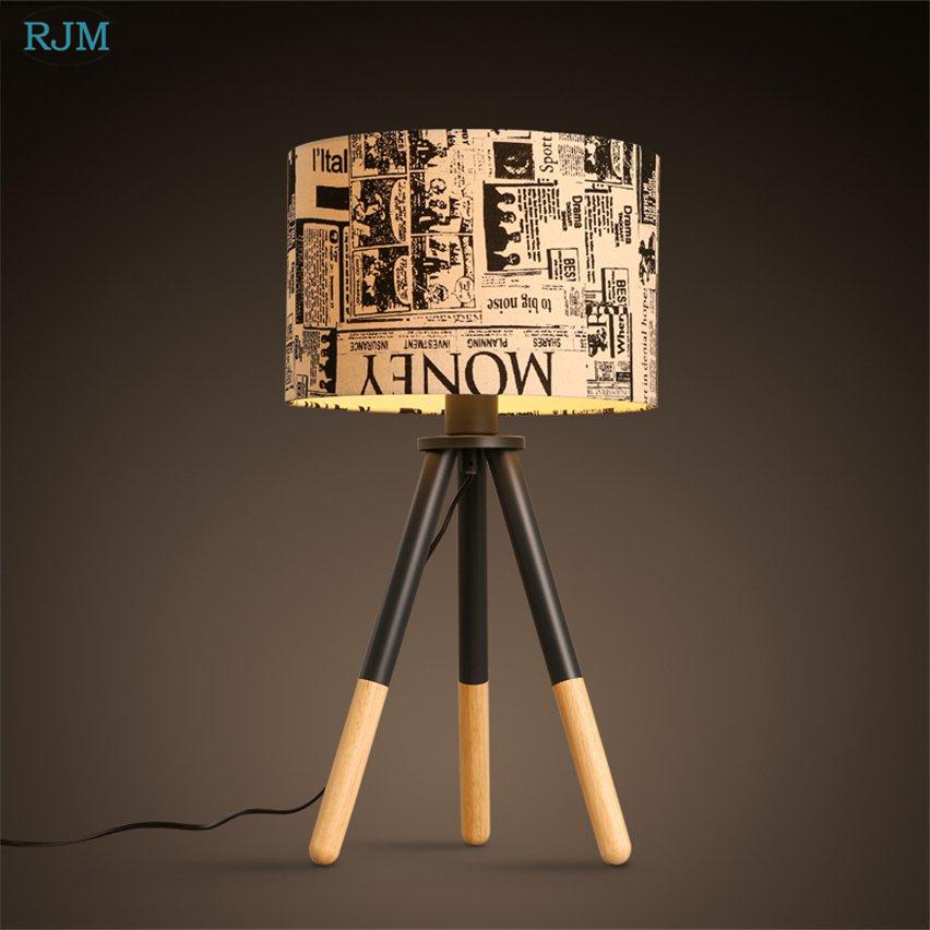 American Vintage Tripod Table Lamp Fabric Lampshade Wooden Desk Light for Living Room Bedside Study Home Lighting Fixtures Decor