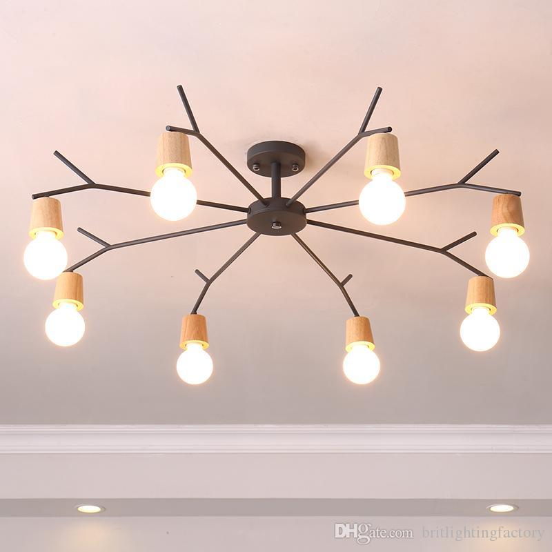 Enjoyable Nordic Ceiling Light Fixtures Bedroom Study Iron Lamp Modern Wooden Led Ceiling Lamp For Living Room Fashionable Wood House Lighting Fixture Beutiful Home Inspiration Semekurdistantinfo