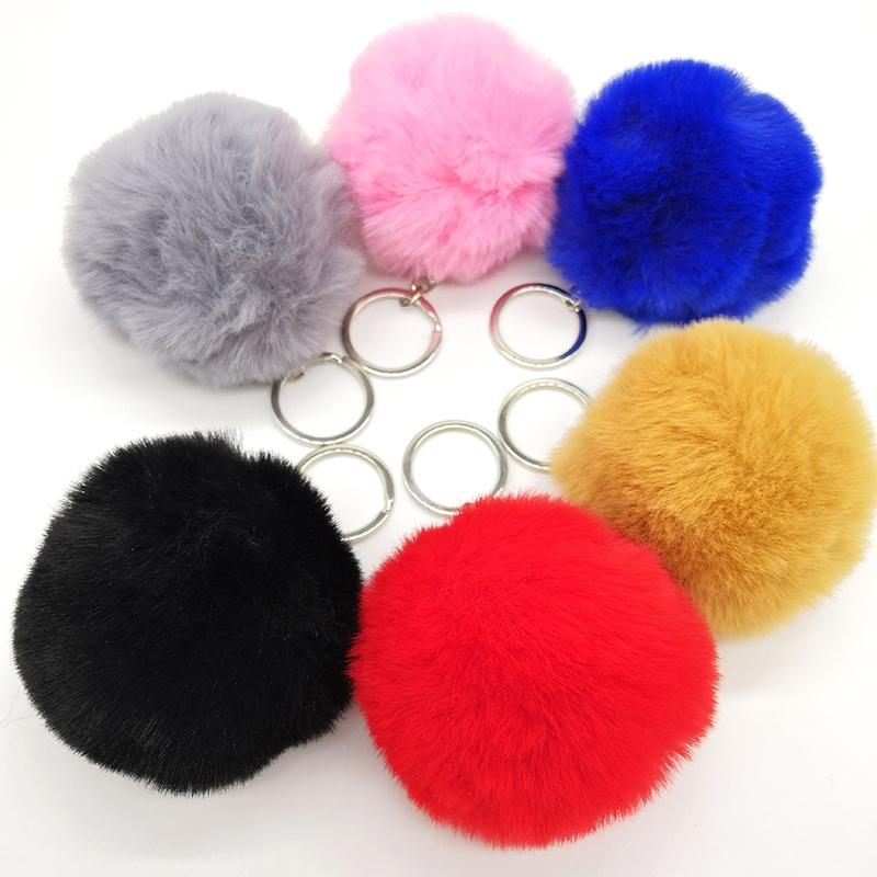2018 Simple Key Chain Fur Ball Pompon Keychain Pompom Artificial Rabbit Fur Animal Keychains For Woman Car Bag KeyRing 6 Colors