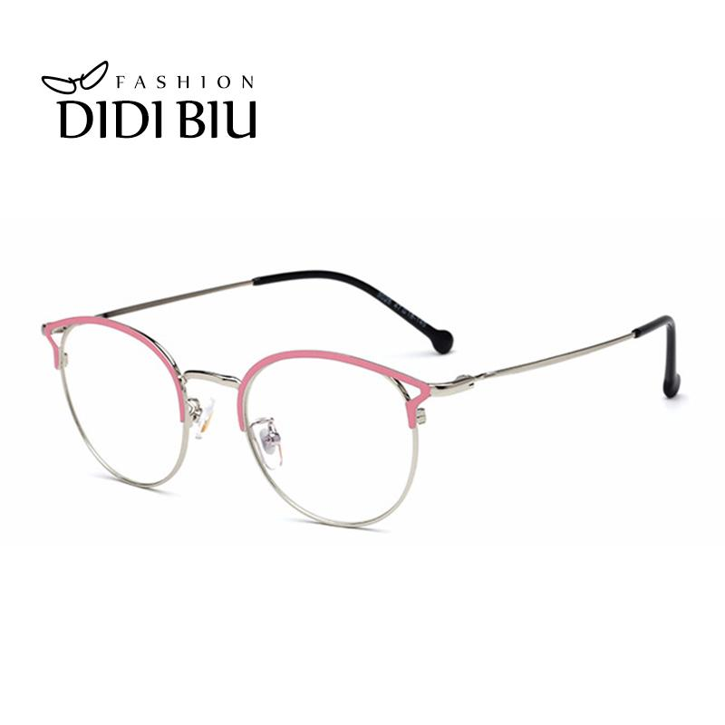 fb935277e63 Women Glasses Frame Hollow Thin Metal Cat Eye Optical Frames ...