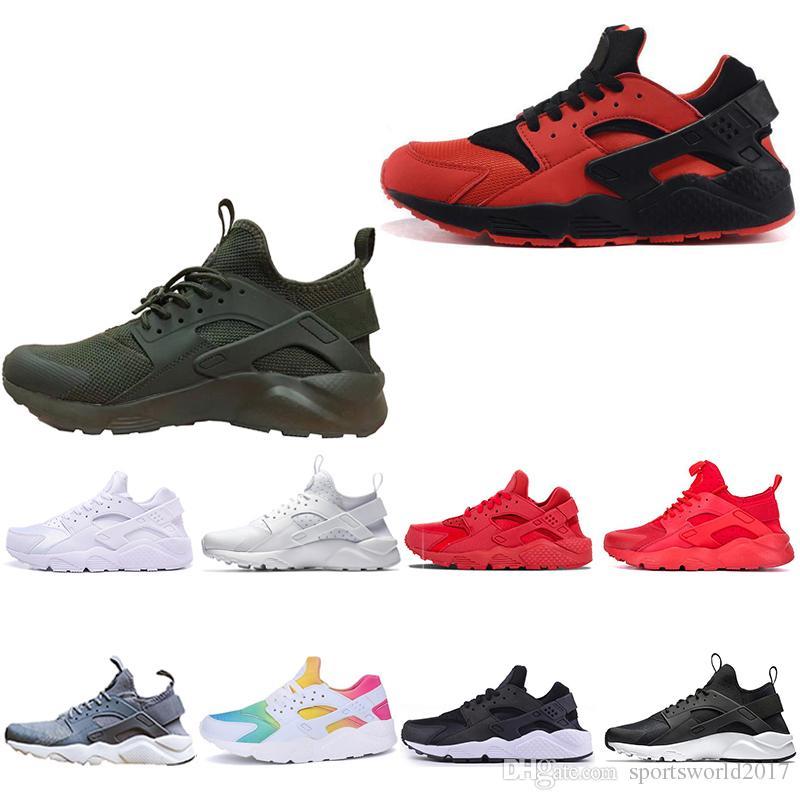 sports shoes 3d7ba 947f9 Nike Air Huarache Al Por Mayor Barato Huarache Clásico Ultra Run 4  Zapatillas Deportivas Huaraches 1 Mujeres Para Hombre Triple Negro Blanco  Rojo Rosa Mesh ...