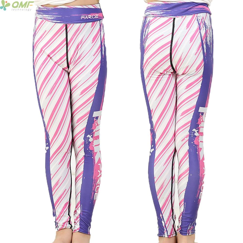 Pink Letter Print Youth Leggings Splash-ink Children Yoga Pants Girl Slim Fit Sports Trousers Graffiti Skinny Kids Tights