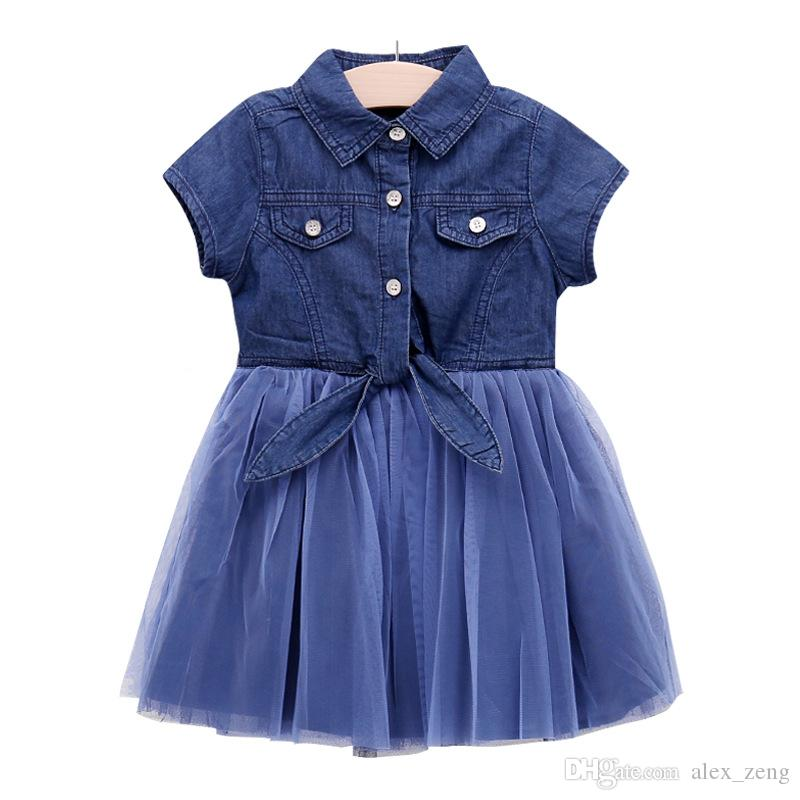 0097e2fda5 2019 2018 New Baby Girls Denim Button Patchwork Tulle Ruffles Dress Cute  Kids Denim Princess Western Fashion Summer Party Clothes From Alex zeng