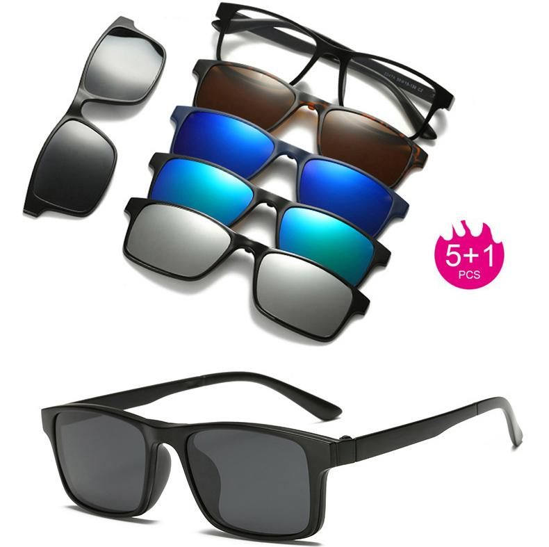 aa5832cb4b Cheap RuoWangs Spectacle Frame Eyeglasses Men Women With 5 Clip on  Polarized Sunglasses Magnetic Adsorbent For Male Eye Glasses Clip 5