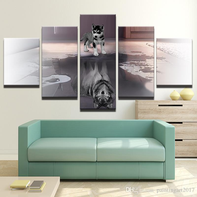 6671ef6b61e 2019 Poster HD Printed Painting Canvas Printed Large Animal Dog Home Decor  Wall Art 5 Panel Wolf Modern Pictures For Living Room From Paintingart2017