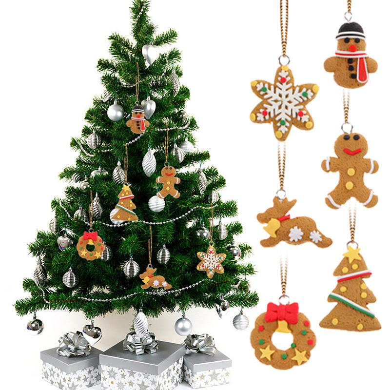 6pcs Christmas Tree Decorations Hanging Ornaments Polymer Clay Pendants Gift Navidad New Year Christmas Decorations For Home Y18102609