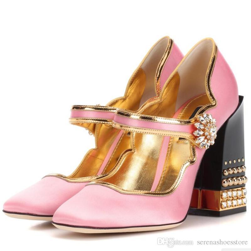 3854fb8845a Fashion Week 2018 Women Brand Pink Silk Pumps Gold-trimmed Shoes Block  Rivets High Heels Mary Janes Dress Party Stilettos Vogue Fashion Runway  Fashion Week ...