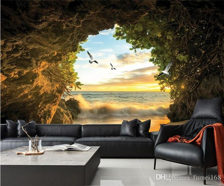 Living Room Background Animated: Custom 3D Photo Wallpaper Cave Nature Landscape TV