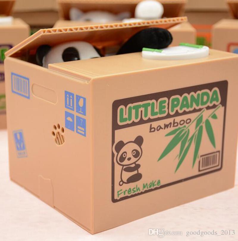 Piggy Bank Panda Bamboo Stola Automatica Coin Panda cat Automatic Stealing Coin Salvadanaio Salvadanaio bambini b1110