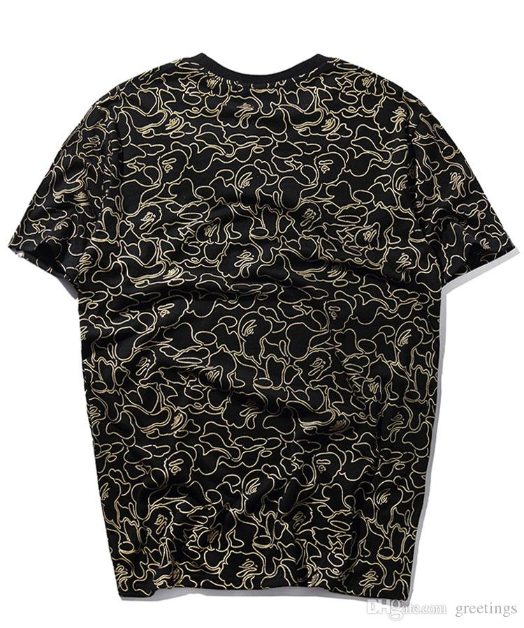 2018 Spring Summer New Men's Tide Brand Bronzing Printing Short Sleeved T-Shirts Men's Casual Cotton T-Shirt