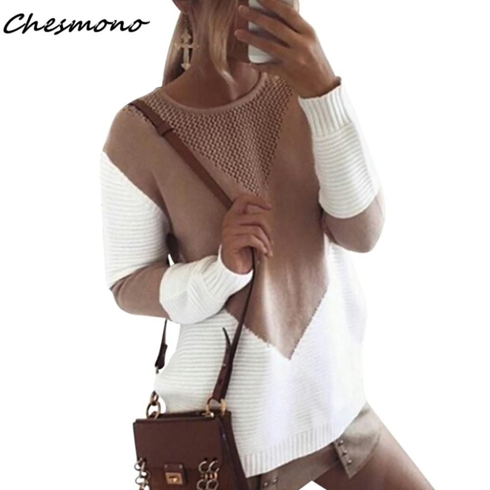 2018 Women Long Sleeve Oversized Sweater Contrast Colors Hollow Out Jumper  Female Loose Side Split Casual Pullover Crochet Knitwear From Firstcloth e025f473d