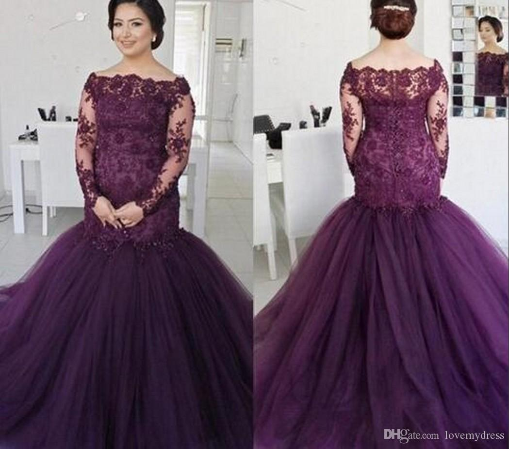 Alluring Purple Prom Evening Dress For Plus Size Women Girls 2018 Off  Shoulder Illusion Long Sleeves Lace Applique Mermaid Ruched Cheap Plus Size  Occasion ... 1cebcd7f5d5a
