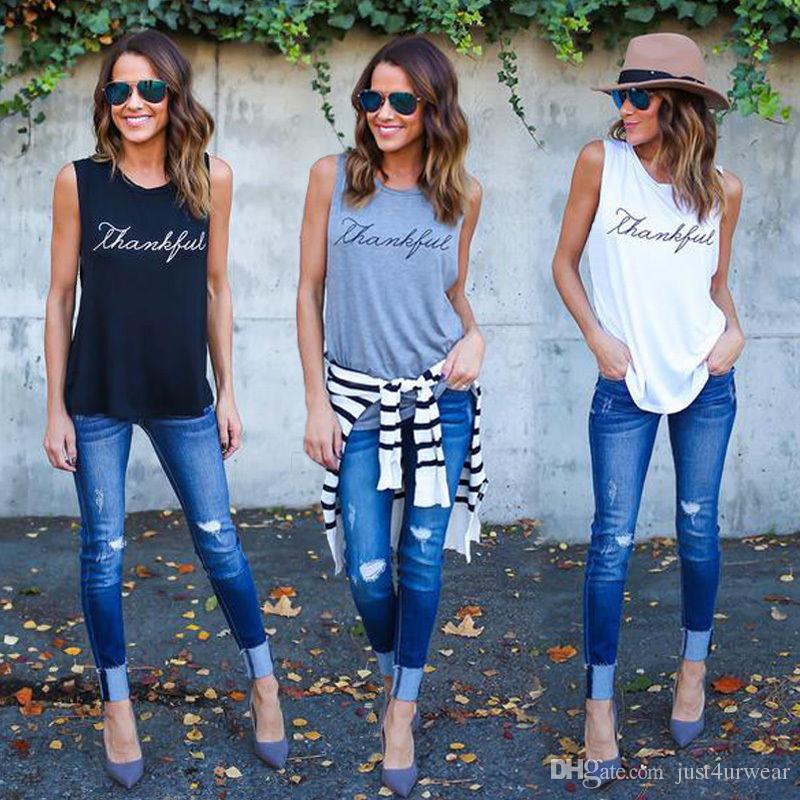 Frauen DANKBARE Buchstaben Trägershirts lange ärmellose T-Shirts feste beiläufige lose T-Stücke Spitzenwesten