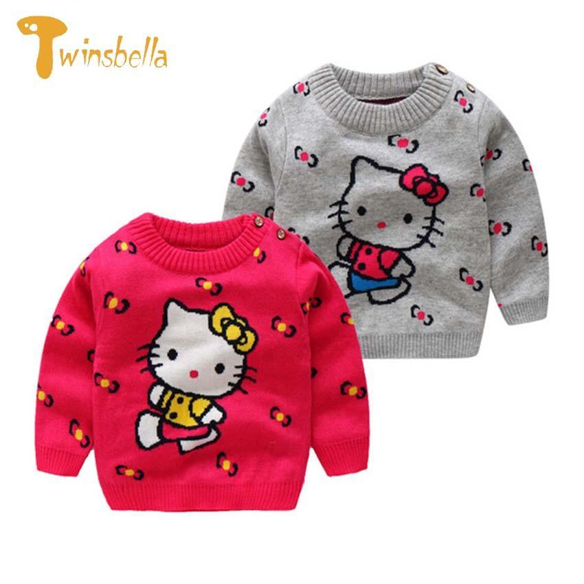 Compre Ropa Para Bebés De Twinsbella 2018 Otoño Suéter Para Niñas Ropa De  Punto Hello Kitty Suéteres Con Cuello En O Roupa Infantil Ropa De Bebé A   34.23 ... 735d95fdf8dca