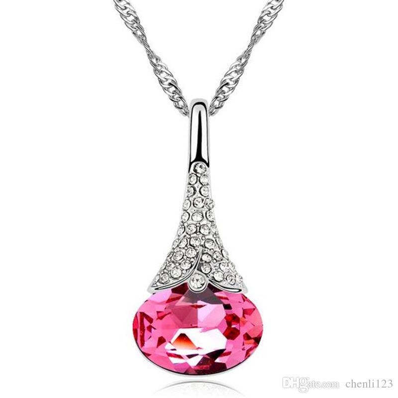 Ciondoli Waterdrop Crystal da Swarovski Elements Collana di cristallo di alta qualità Donna la festa della mamma Regalo 8422