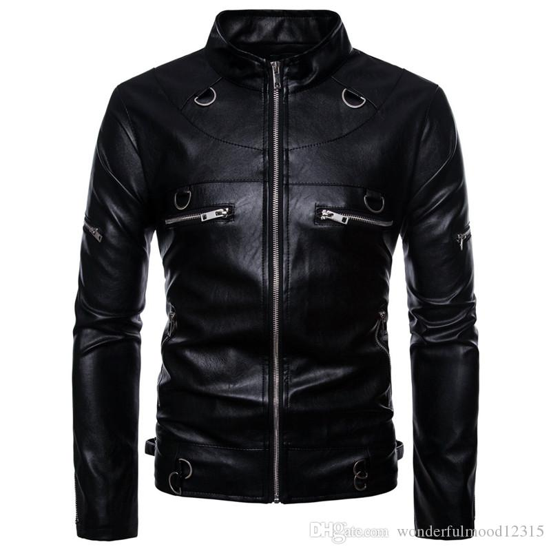 ab870835c468 2018 new Men s Locomotive Pull Leather Handsome PU leather jacket coat  Europe and More models Zipper Black jacket
