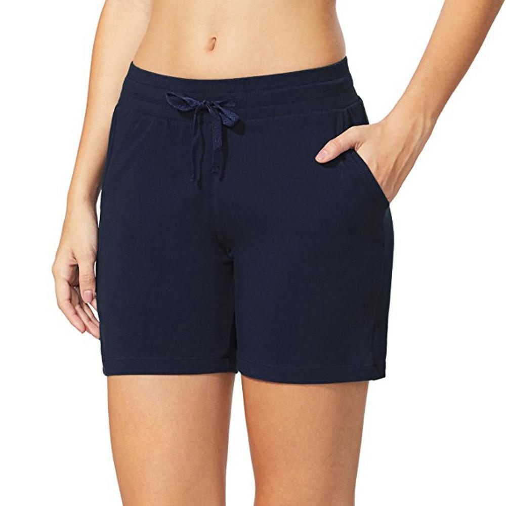 f9ebdacca6 Womail 2018 Solid cotton yoga athletic shorts Women's Elastic Waist  Activewear Yoga Lounge Shorts Pockets Beach Trouser