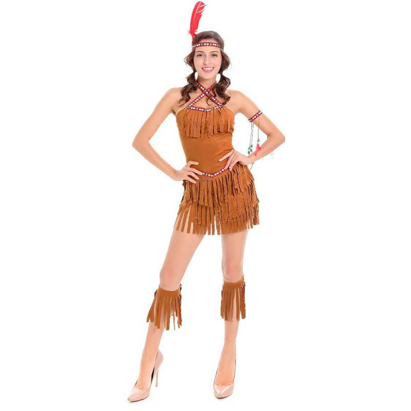 22144a494 Adult Sexy Cosplay Pocahontas Matoaka Costumes Indians Squaw Cowgirl  Princess Costume Halloween Party Indians Dancing Clothing C18111601 Garter  Belt Set ...