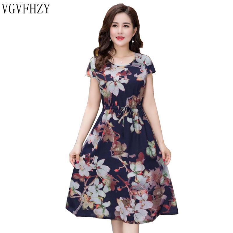 dc2e3ac07 2018 Verano de mediana edad Las mujeres imprimen vestido suelto O-cuello de  manga corta para madres Vestidos informales de moda más el tamaño XL-4XL ...