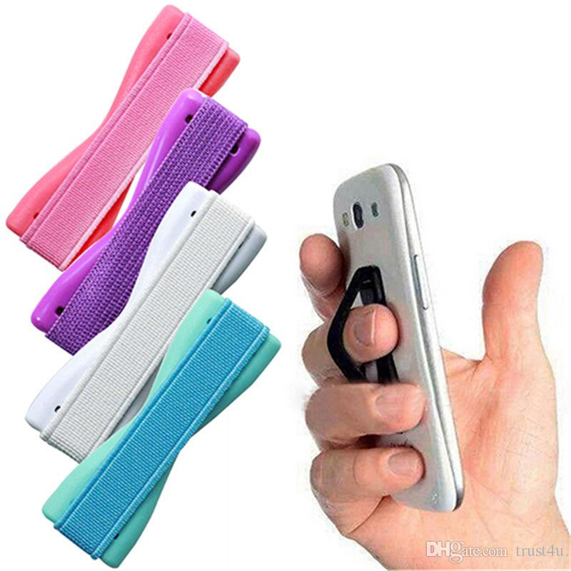 Mobile Phone Finger Holder Cell Phone Sling Rubber Grip elastic band Stand hoder for ipad air iPhone 6 6s 7 8 with package