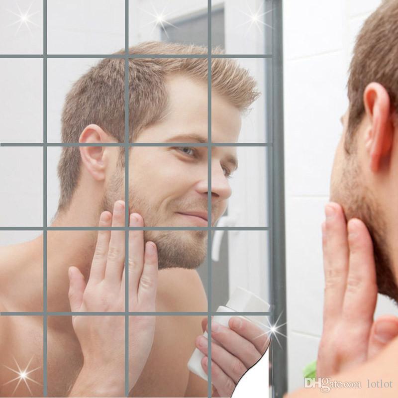 16 pçs / set espelho adesivos de parede auto-adesivo telhas adesivo de parede decalque mosaico decoração de casa sala de estar diy cartaz adesivos