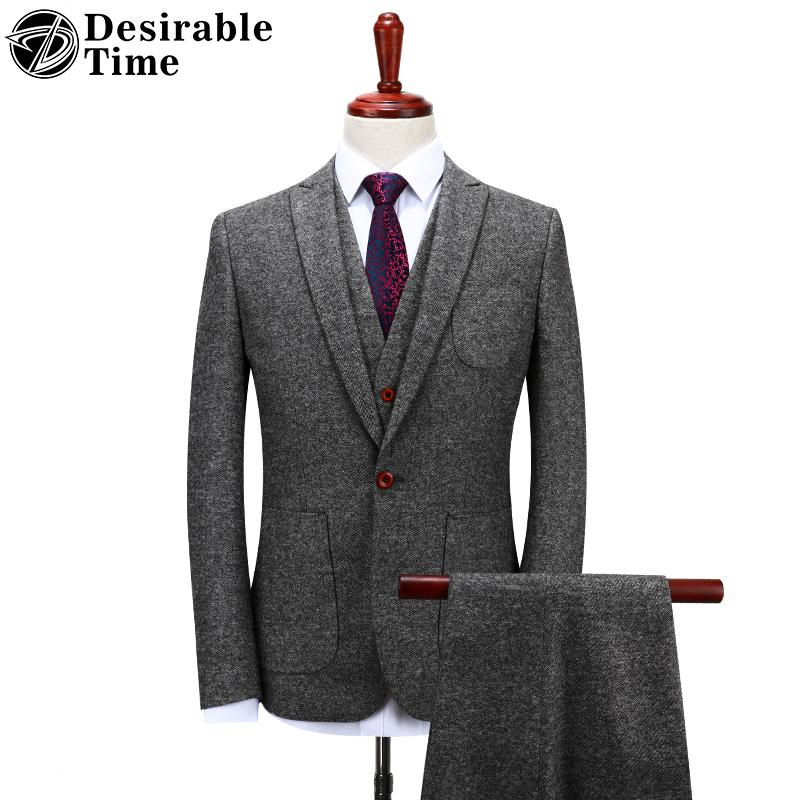 c6fb8c5e3a0 Desirable Time Mens Gray Woolen Suits Wedding Groom S-4XL Fashion Costume  Homme Slim Fit Tweed Suit Men DT151