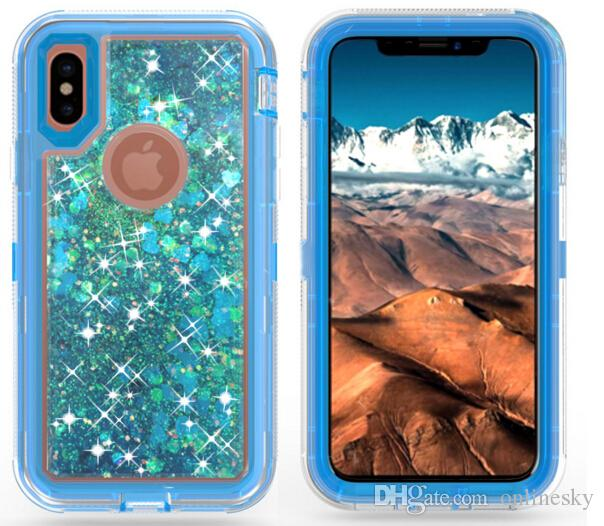 Venta caliente Brillante 3 en 1 Fashion Glitter Liquid Quicksand Funda de móvil Bling Crystal Robot Defender casos cubierta para iPhone para Samsung