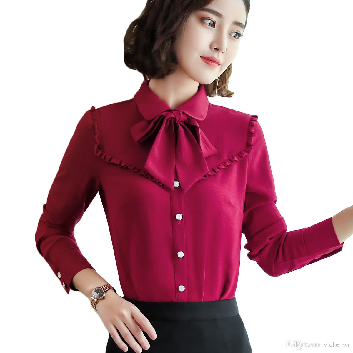 c08c0714d0f9 2019 New Casual Blouse 2018 Work Wear Bow Tie Women Red Orange Blue White  Black Shirts Female Ruffle Blouse From Yichenwr