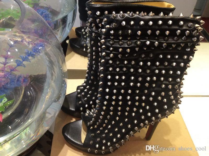 Femmes Noir Argent 12cm Mollet En Cuir Pic Rouge Fond Chaussures D'hiver BottesDames Mi Plein Toes Véritable Talons 3 Avec Peep De Mode Hauts UpzSMV