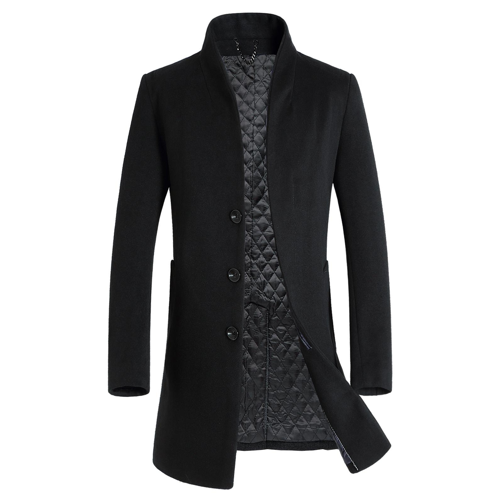 thick New Fashion Brand-Clothing Jacket Wool Coat Men Business Casual Peacoat Single Breasted Long Wool & Blends Winter Men Coat